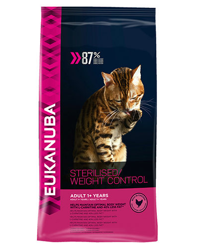 Avbildet: Eukanuba Sterilised Cat Weight Control Chicken - Tørrfôr til sterilisert eller overvektig katt over 1 år