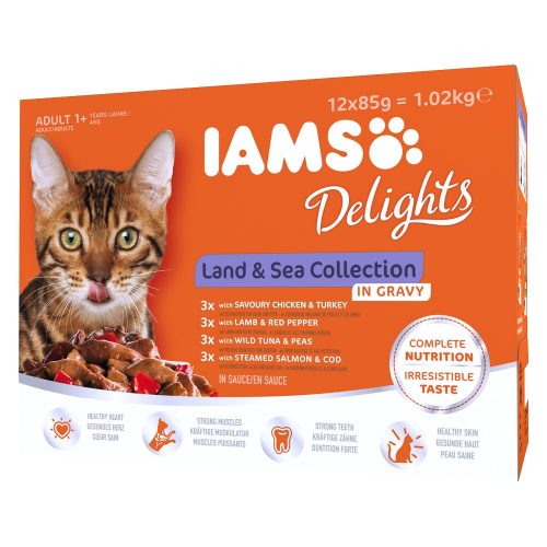 Avbildet: IAMS Delights - Land & Sea Collection in gravy