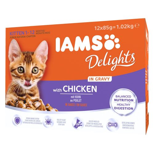 Avbildet: IAMS katt Delights Kitten Chicken in gravy - 12x85g