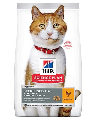 Avbildet: Hill's SP Feline YoungAd Sterilised Chicken