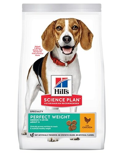 Avbildet: Hill's SP Canine Adult Perfect Weight Medium Chicken